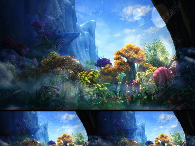 3D唯美梦幻卡通森林舞台视频森林系列01