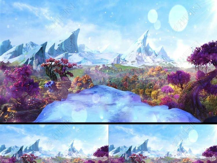 3D唯美梦幻卡通森林舞台视频森林系列08