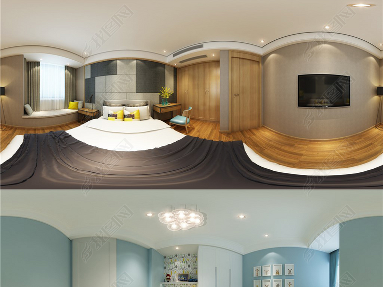 16套3D卧室现代风格全景模型