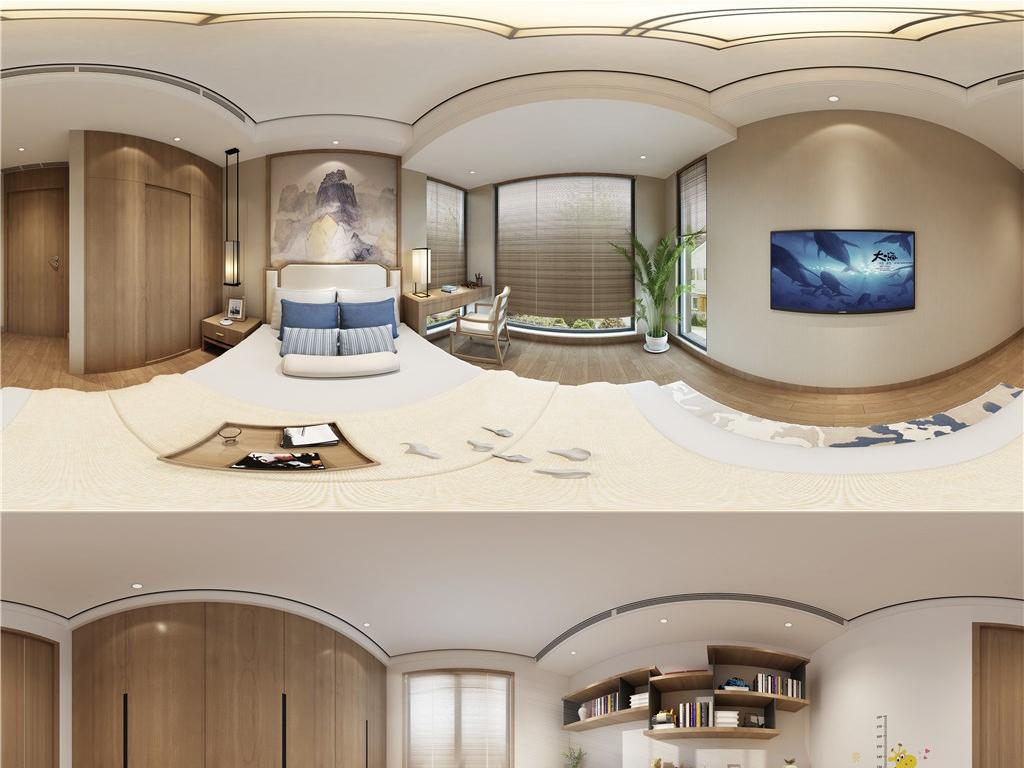 11套3d新中式风格卧室全景模型效果图