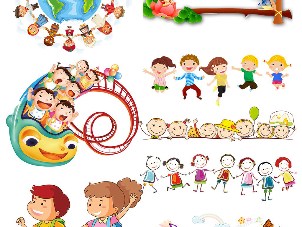 六一儿童节卡通小学生儿童幼儿玩耍手拉手png素材