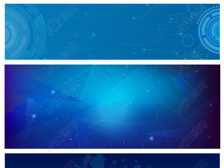 蓝色科技星空数据地球商务创意背景素材元素