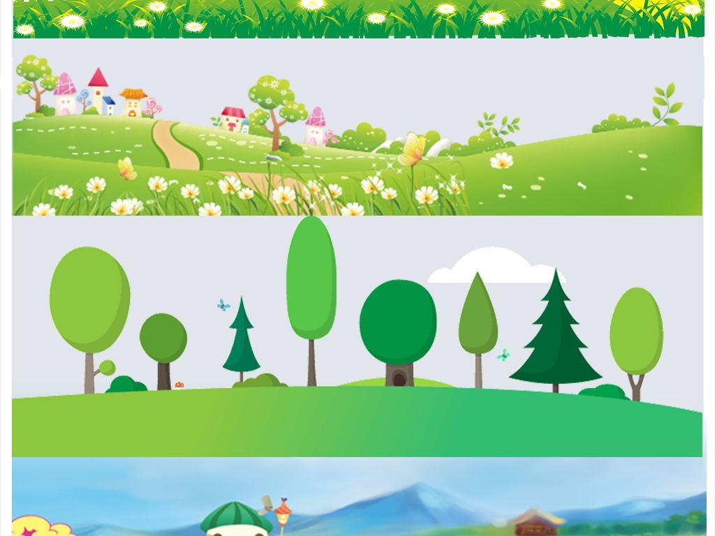 免扣元素 花纹边框 卡通手绘边框 > 卡通绿色草地草坪草丛花草小花
