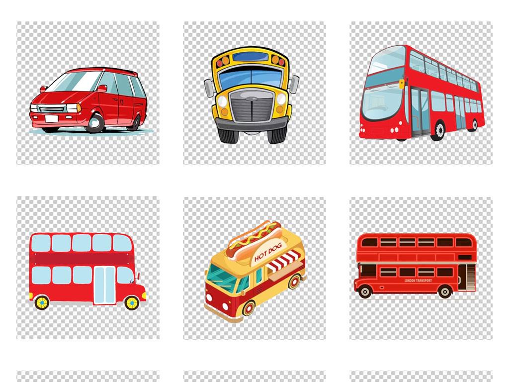手绘卡通bus巴士公交车公共汽车png