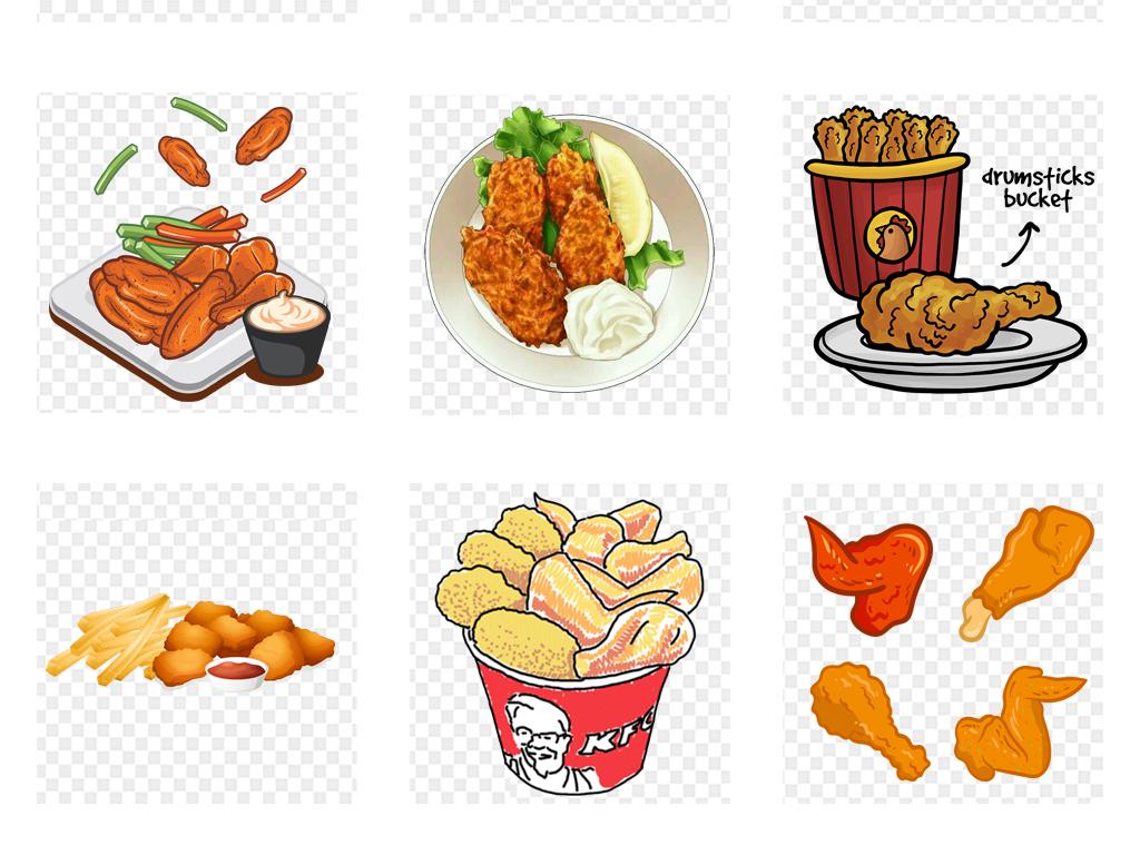 卡通手绘鸡腿鸡翅食物海报设计png免扣素材
