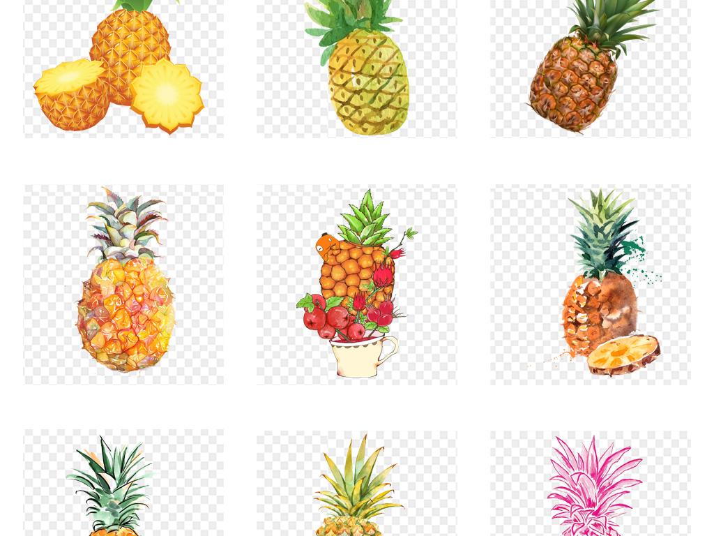 卡通手绘水彩菠萝水果海报png免扣素材
