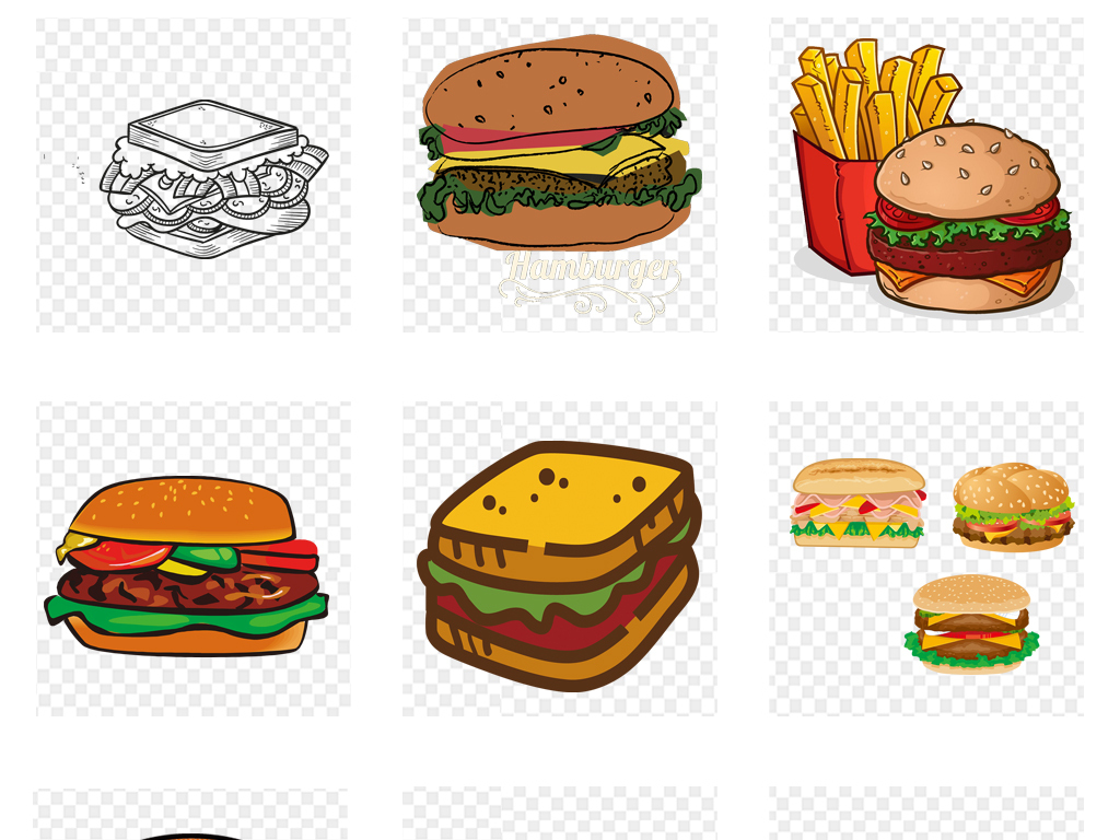 卡通手绘水彩汉堡包食物海报设计png免扣素材