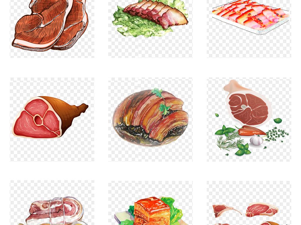 免扣元素 生活工作 食物饮品  > 卡通手绘水彩腊肉猪肉png免扣素材