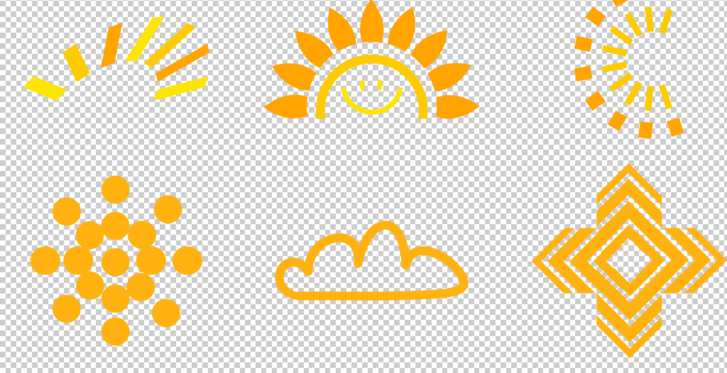 手绘卡通太阳透明底png素材