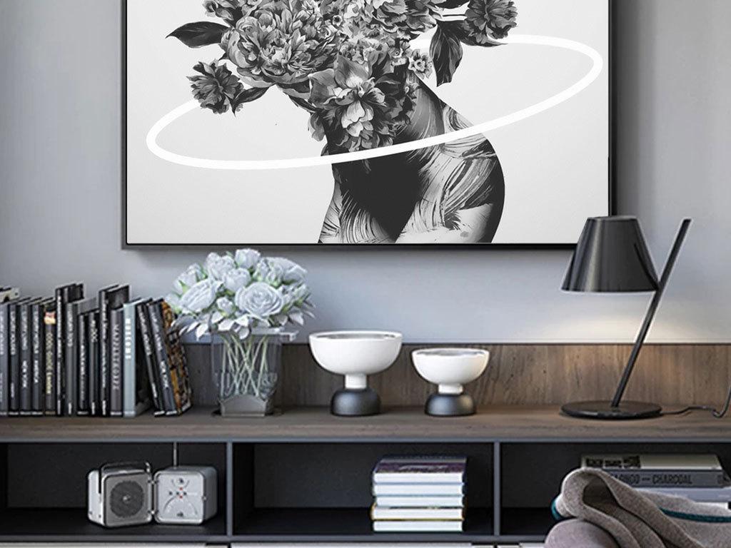 现代简约北欧风格手绘花卉人体黑白装饰画