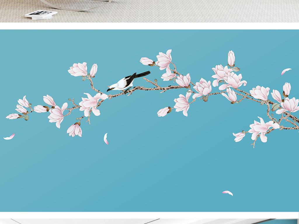 新中式手绘玉兰花工笔花鸟背景墙装饰画