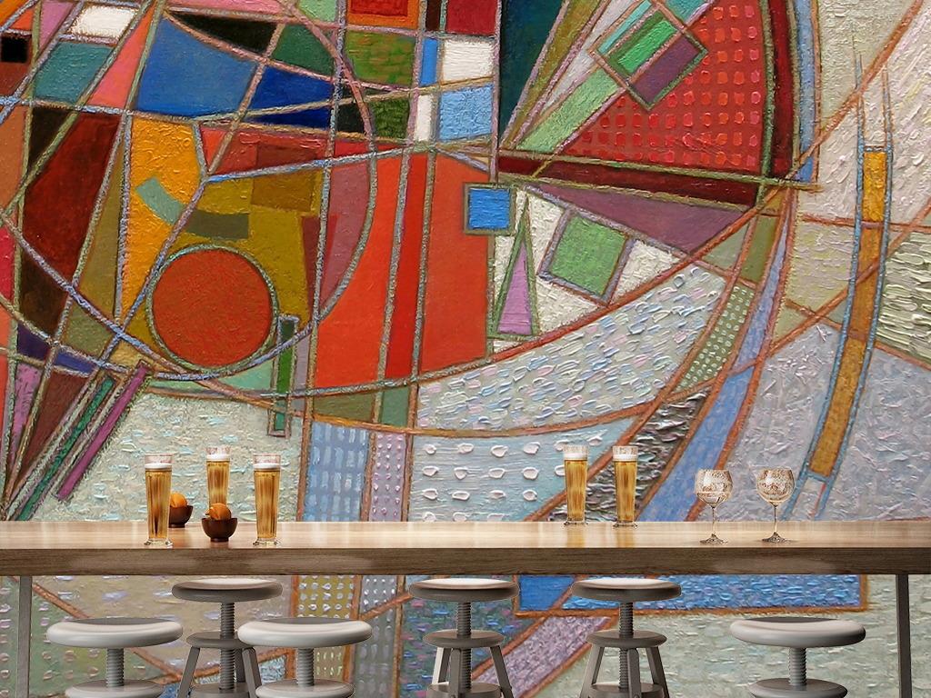 墙绘涂鸦手绘油画酒吧咖啡厅大色块背景墙