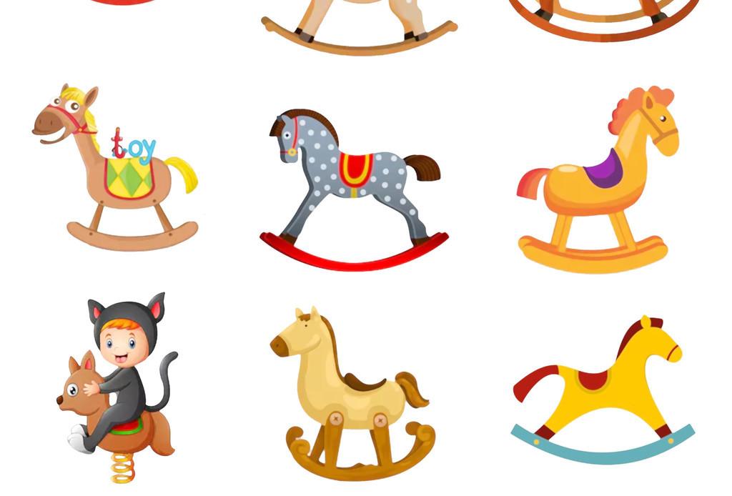 手绘卡通游乐场儿童乐园旋转木马png素材
