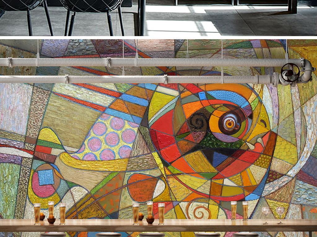 涂鸦墙绘手绘油画咖啡厅酒吧大色块背景墙