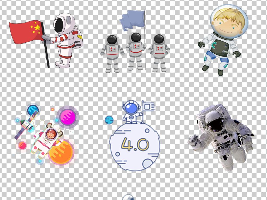 0678宇航员太空飞船宇宙飞船火箭手绘卡通宇航员太空飞船飞行的宇航员