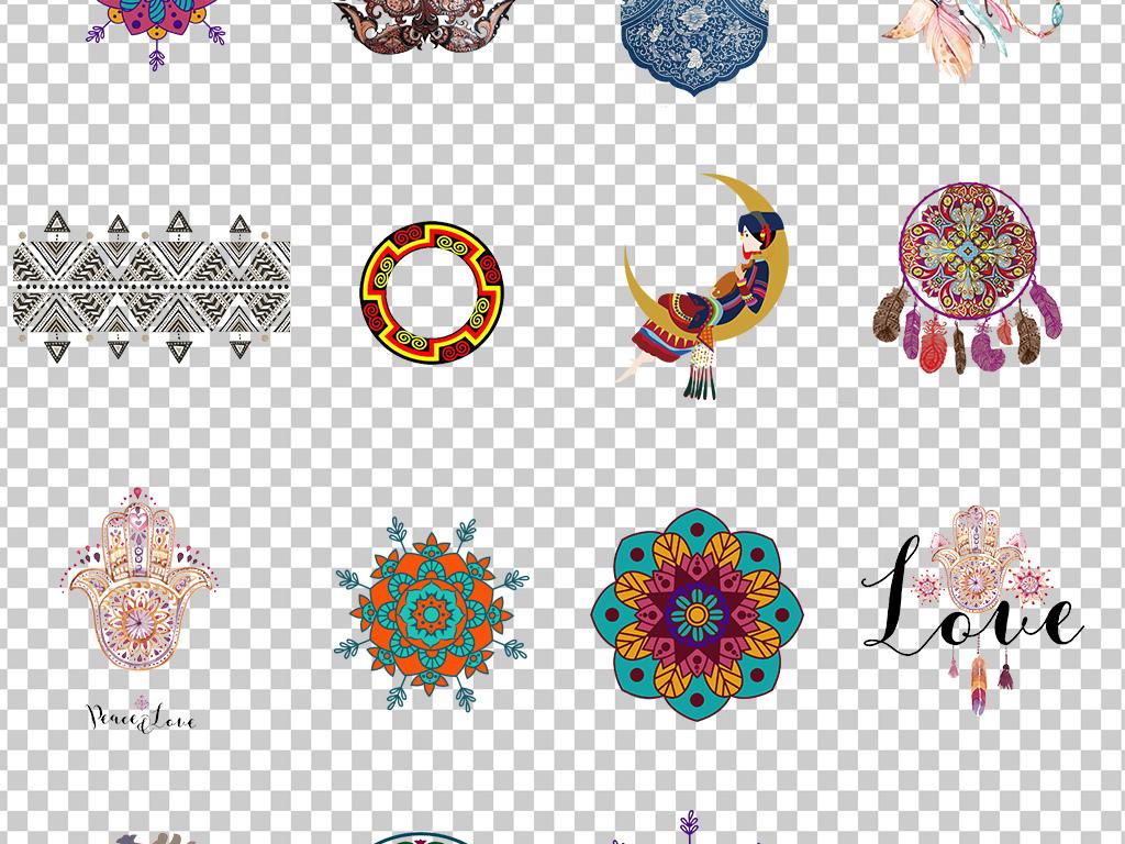 0679中国风彩民族风花纹手绘民族风花纹花朵图案素材免抠