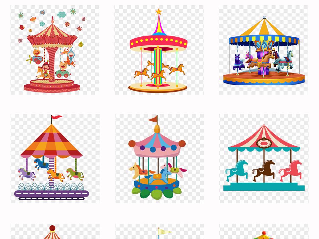 可爱卡通手绘旋转木马游乐场儿童乐园背景png素材