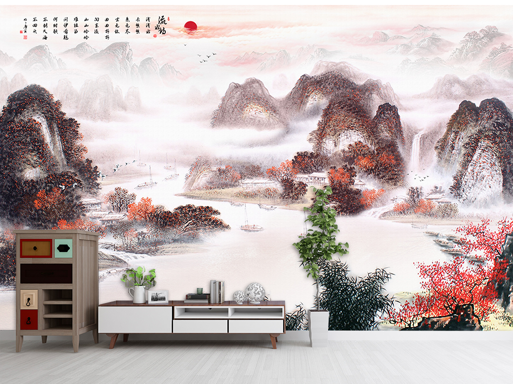 墨画电视背景墙风水画招财画图片设计素材 高清psd模板下载 529.93图片