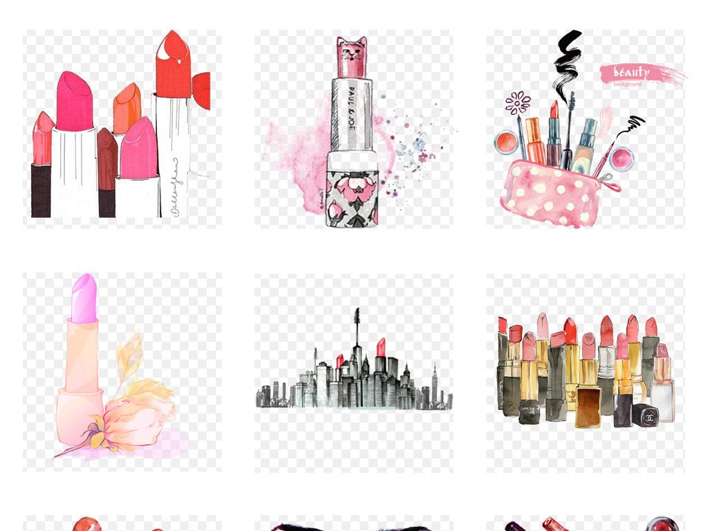 卡通手绘水彩口红彩妆化妆品海报png免扣素材