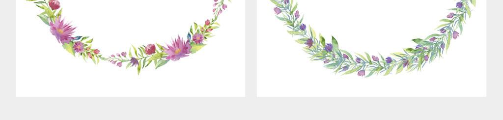 手绘清新植物树叶圆形花环边框png素材