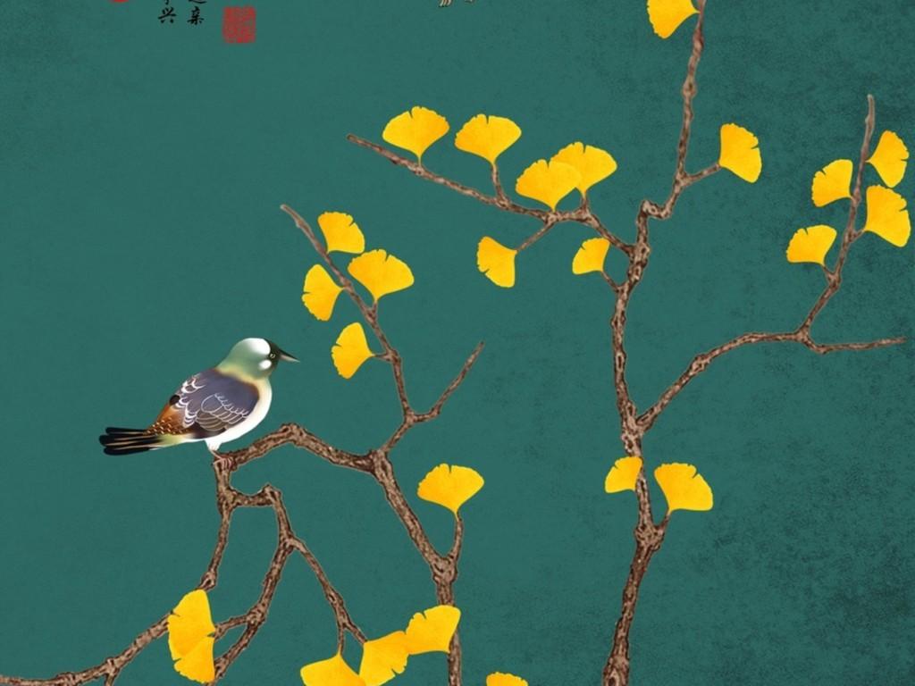 新中式手绘银杏叶玄关背景墙