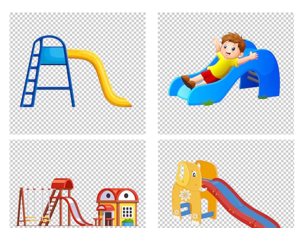 手绘卡通儿童节游乐园彩色滑滑梯png素材