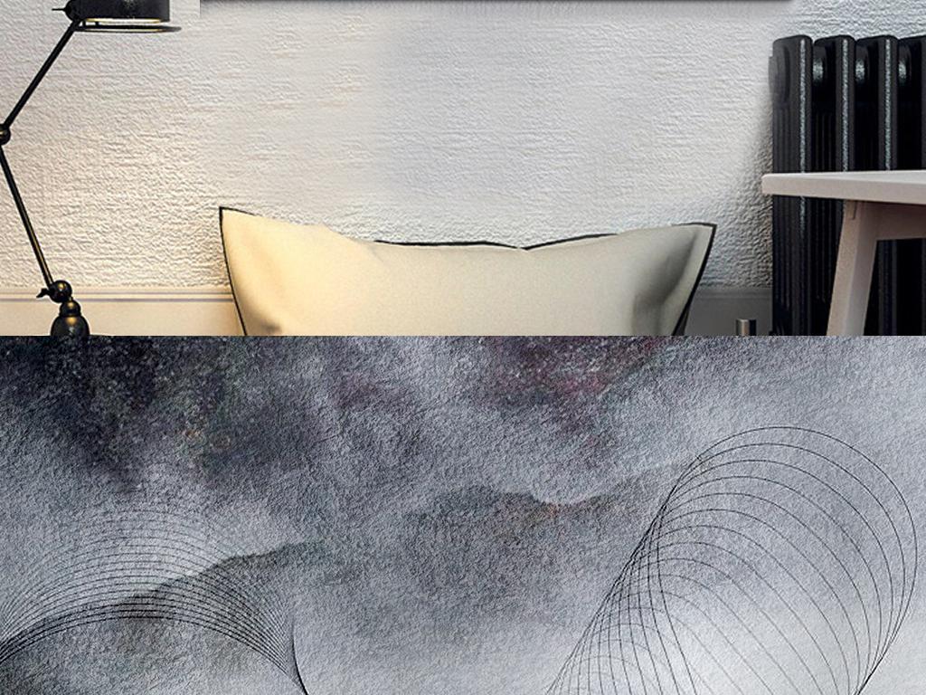 北欧现代抽象山水黑白飘渺禅意简约线条无框画图片