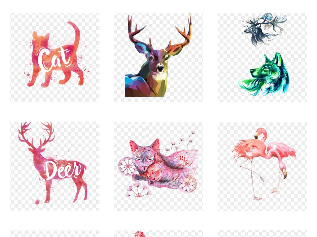 各种手绘水彩动物海报包装袋设计png素材