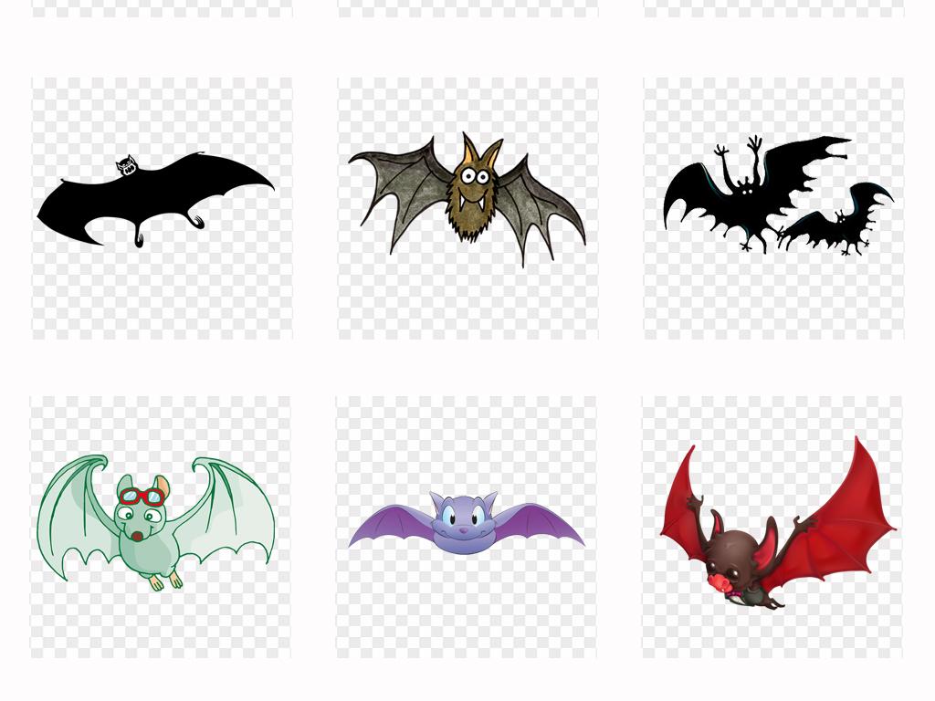 可爱卡通手绘吸血蝙蝠万圣节海报png免扣素材