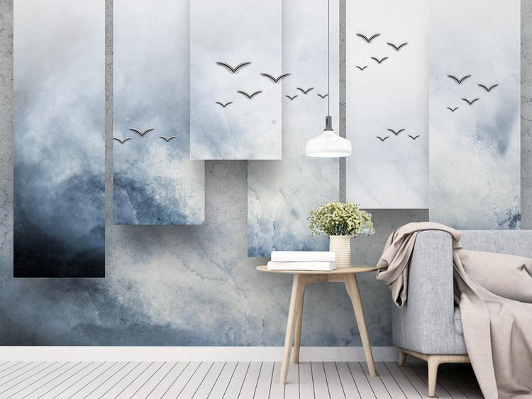 创意3d立体新中式水墨山水电视背景墙