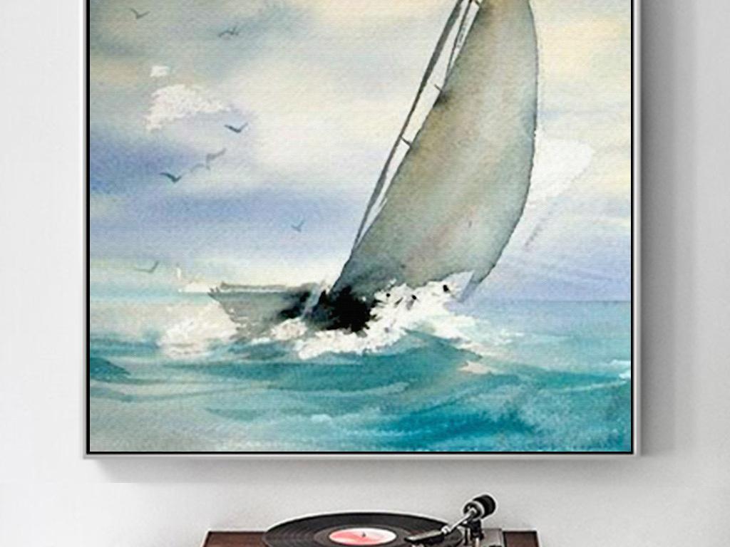 手绘水彩现代简约帆船大海客厅玄关装饰画