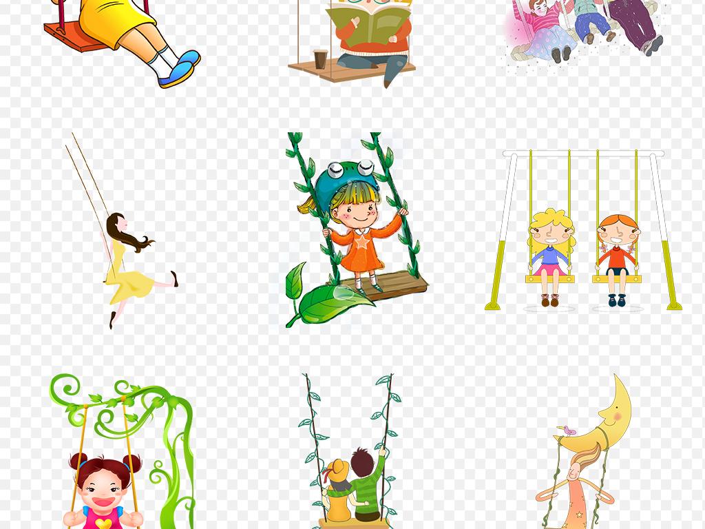 藤蔓野外树藤古风素材女孩荡秋千素材幼儿园素材幼儿园背景儿童背景