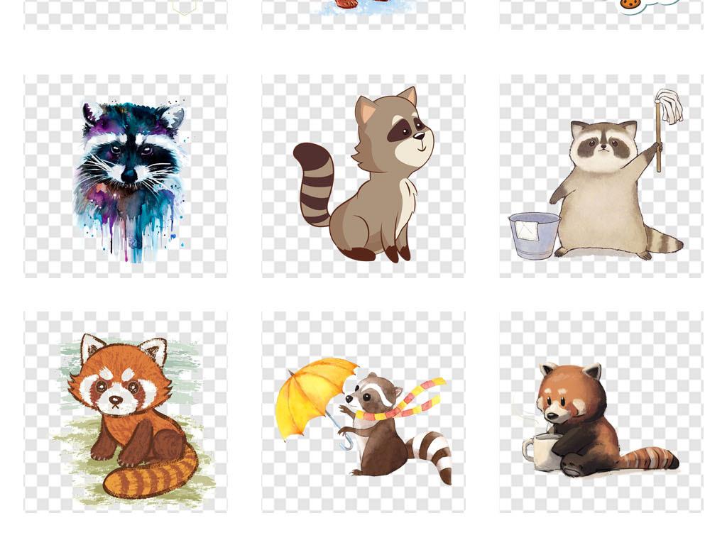 免扣元素 自然素材 动物 > 动物园卡通浣熊动物幼儿园贴纸png素材