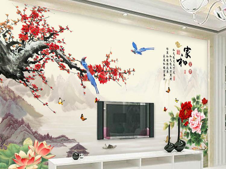 家和富贵梅花山水电视背景墙