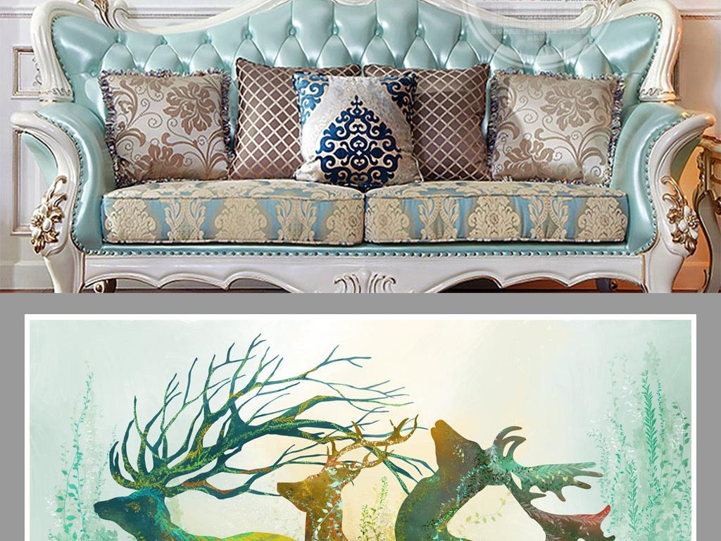 手绘梦幻森林麋鹿客厅三联装饰画  素材图片参数: 编号 : 17842908