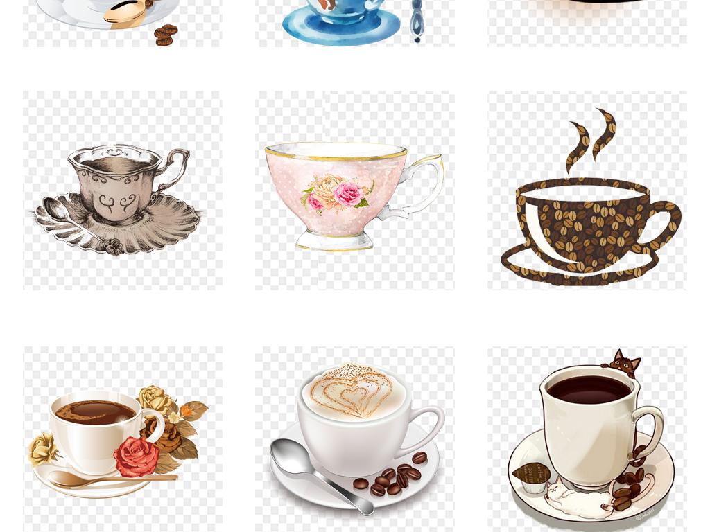 卡通可爱手绘水彩咖啡杯子咖啡海报设计png素材