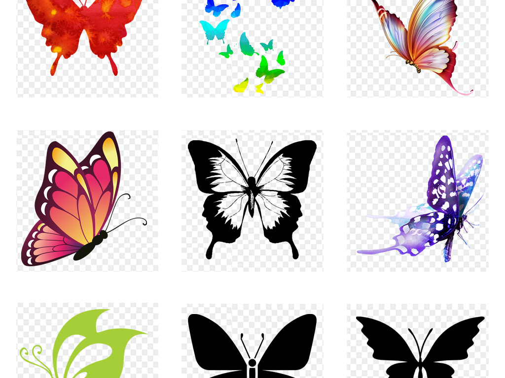 唯美手绘水彩蝴蝶飞舞动物png免扣素材