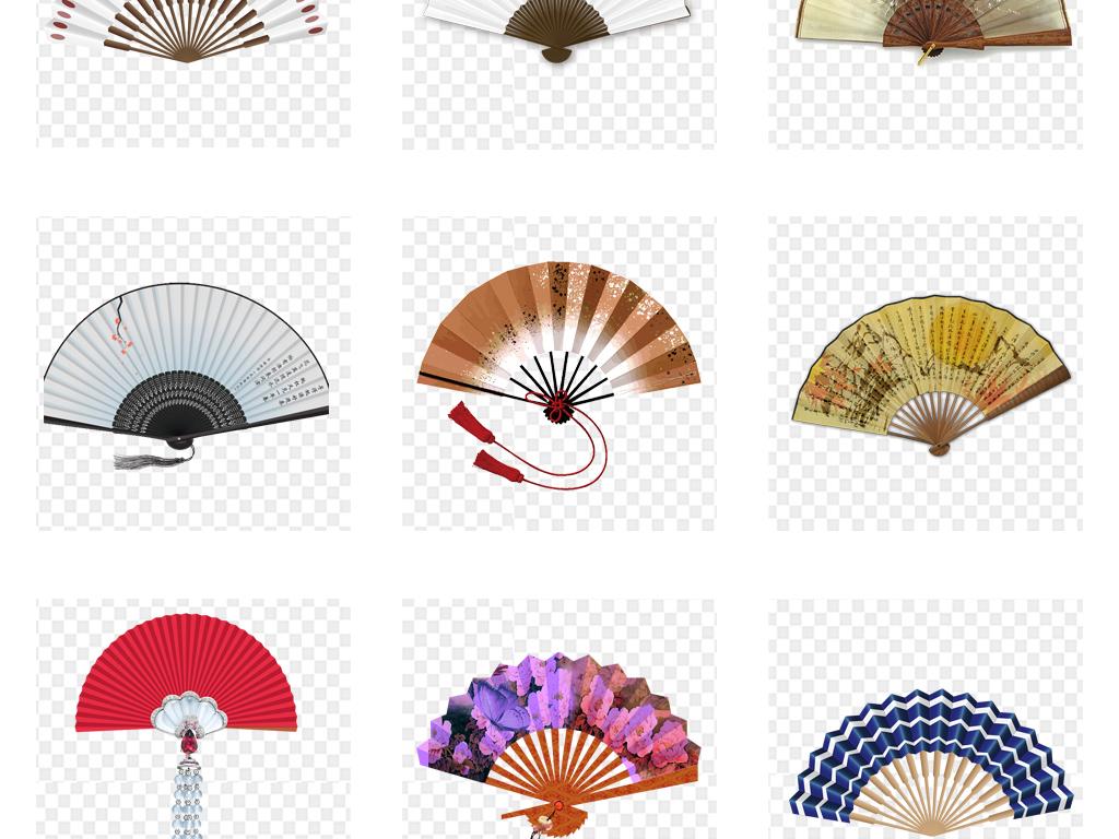 中国风古典古风扇子png免扣素材