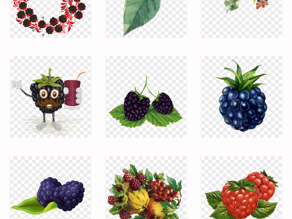 手绘新鲜紫色水果桑葚海报详情设计png素材