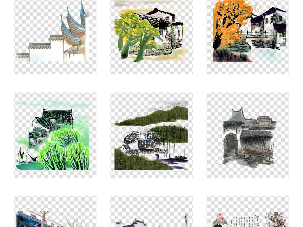 手绘中国风江南水乡古建筑民居水彩风景插画png素材背景