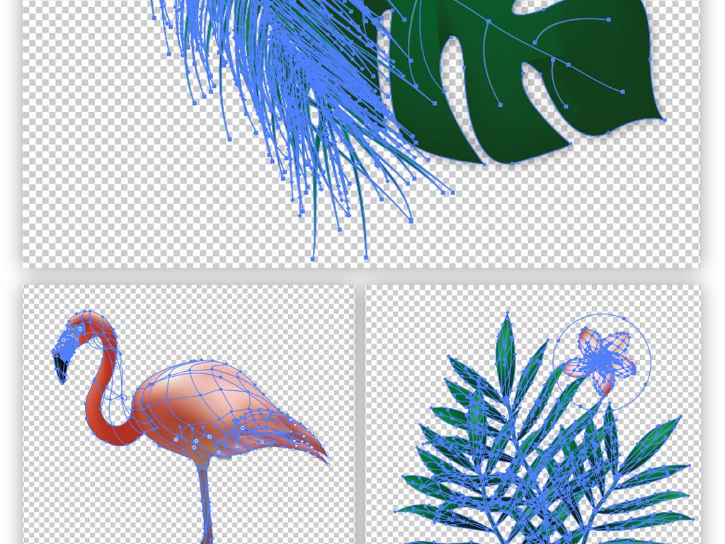 北欧ins热带植物龟背竹火烈鸟装饰画