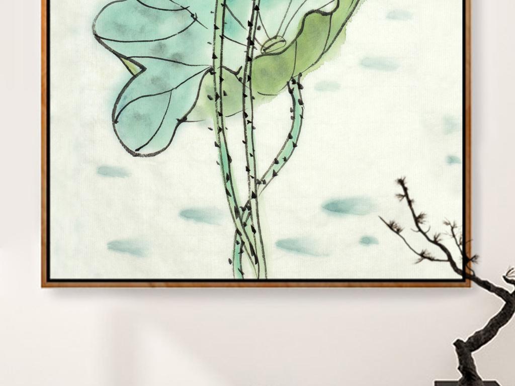 新中式手绘荷花工笔意境装饰画