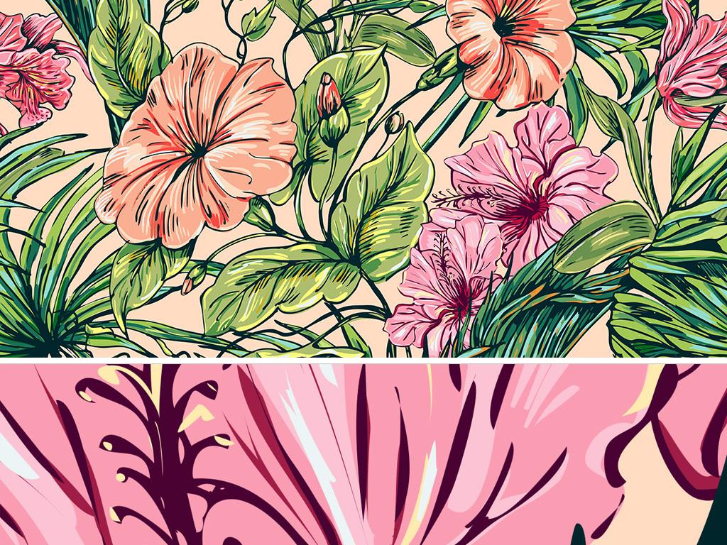 水彩植物现代简约手绘小清新唯美背景墙