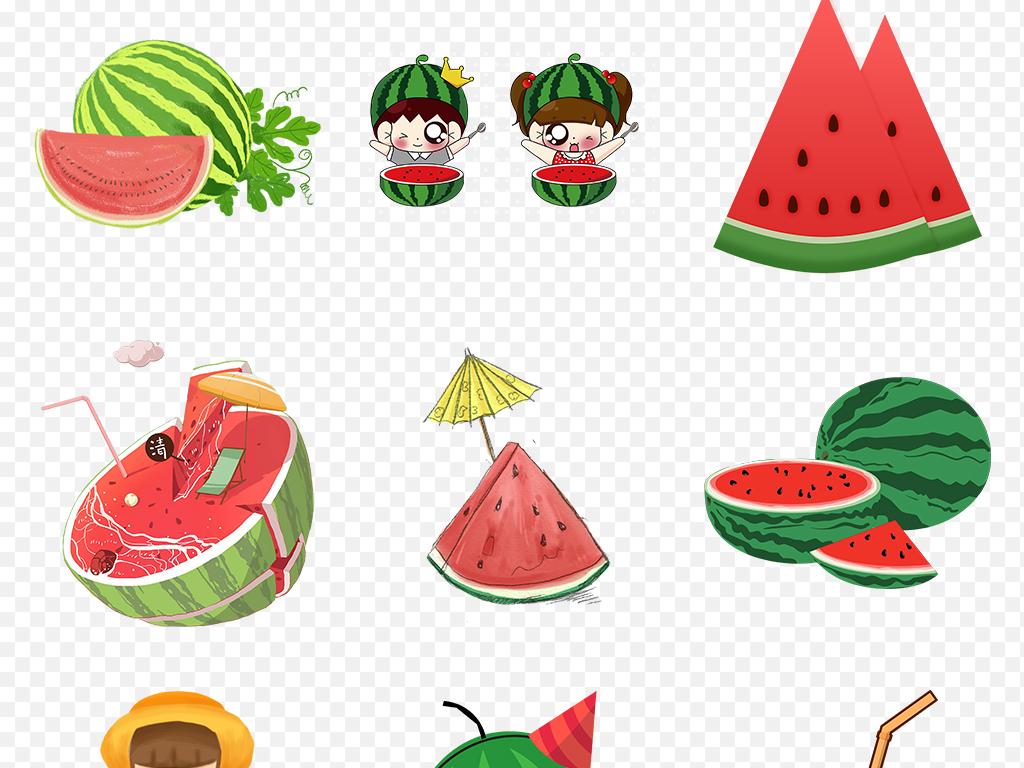 夏日冰爽手绘卡通夏季水果西瓜海报素材背景png