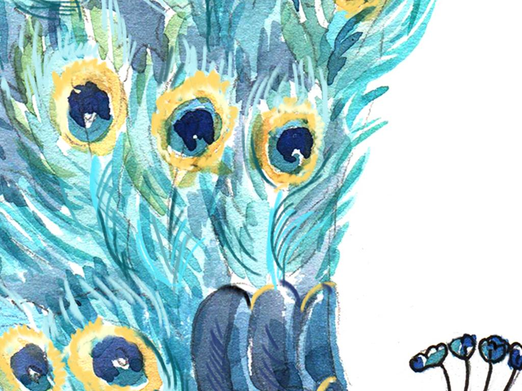 清新北欧孔雀三联装饰画手绘花卉