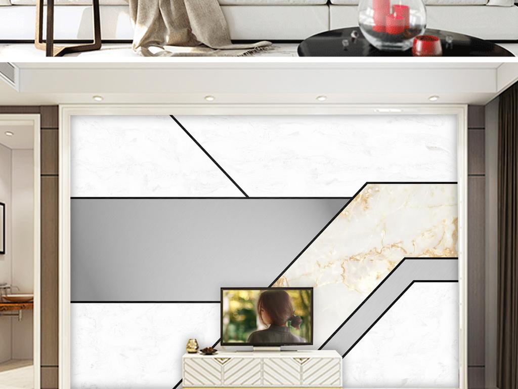背景墙 电视背景墙 现代简约电视背景墙 > 大理石纹北欧几何形象墙