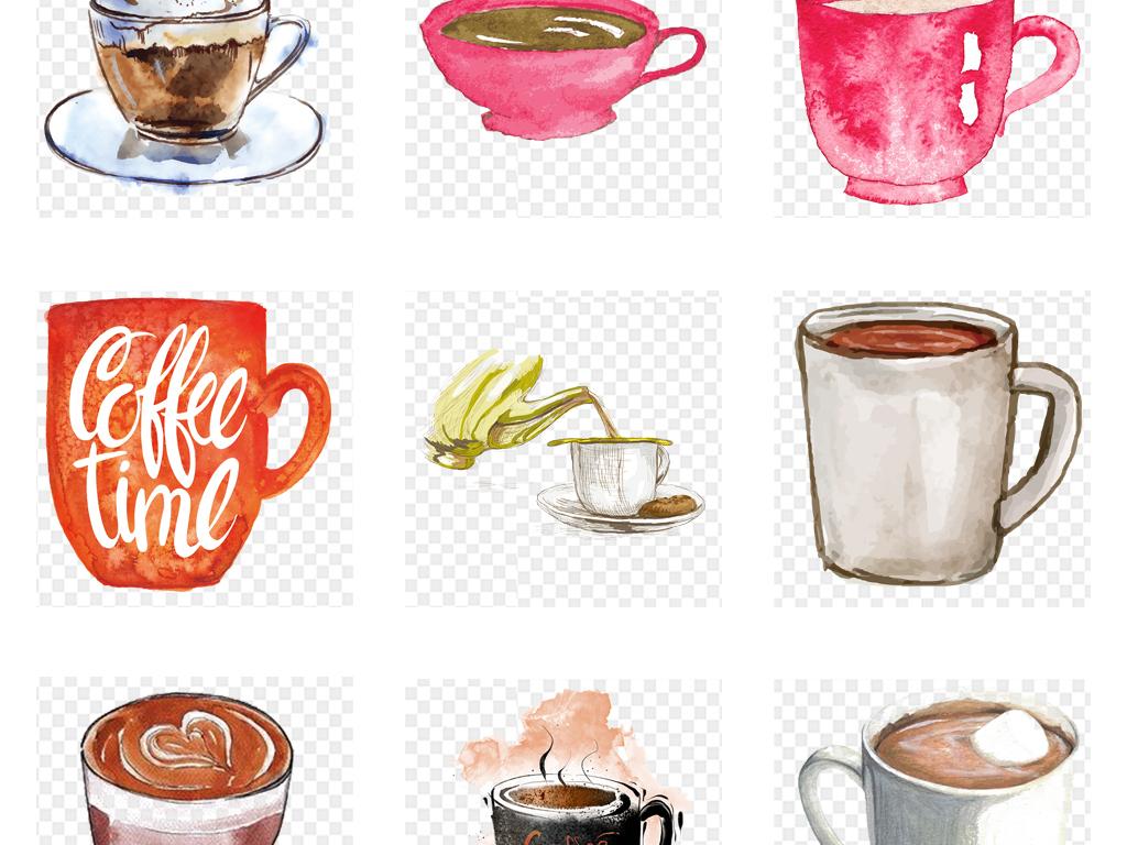 手绘水彩杯子咖啡杯咖啡png免扣素材