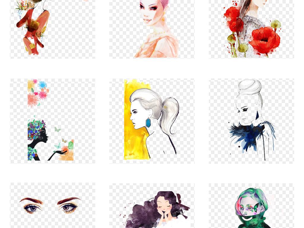 手绘水彩时尚美女人物创意海报png免扣素材