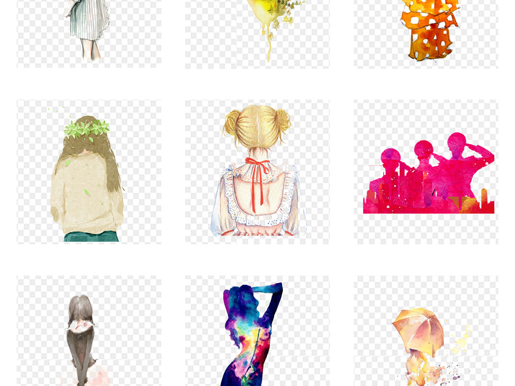 手绘水彩文艺小清新女孩背影海报设计png元素