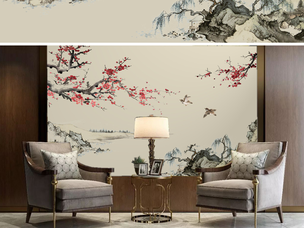 手绘新中式梅花工笔画花鸟沙发背景墙装饰画